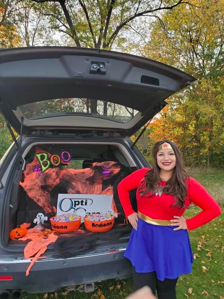 Heather from our Lapeer office at the trunk or treat at Murphy Elementary.